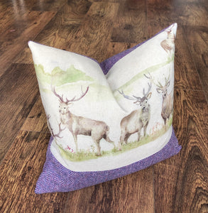Stag & Lilac Harris Tweed Cushion, Handmade, 16""