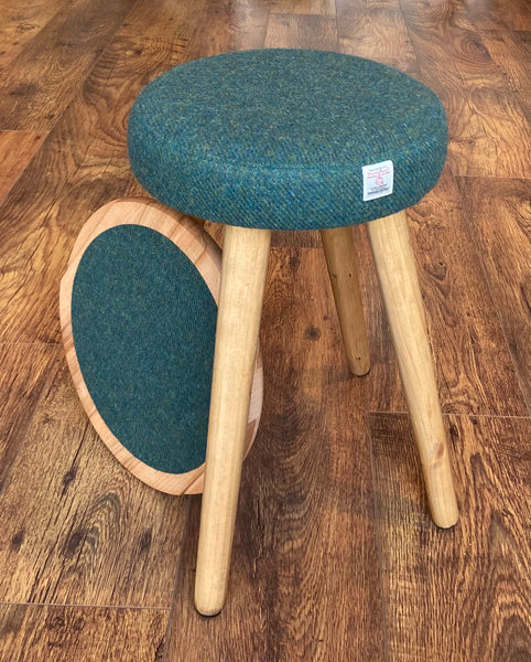 Small Green Side Table, Harris Tweed with Olive Wood Top and Rustic Wooden Legs