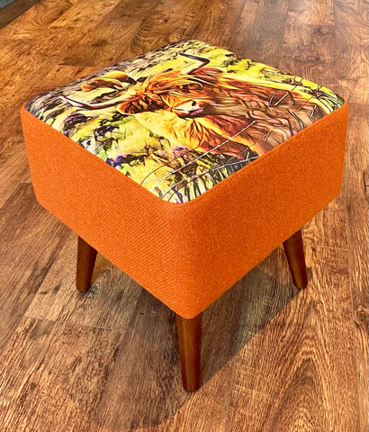 Highland Cow and Orange Harris Tweed Square Footstool with Varnished Wooden Legs