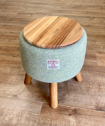 Light Green End Table: Harris Tweed with Rustic Wooden Legs and Top