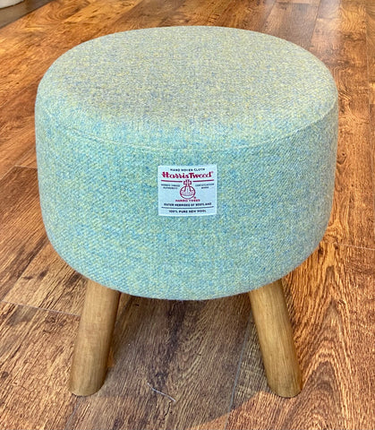 Light Green Harris Tweed Upholstered Footstool with Rustic Wooden Legs.