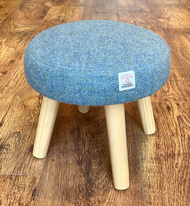 Mini Harris Tweed Light Blue Footrest with Clear Varnished Wooden Legs