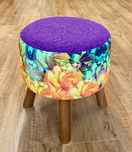Purple Harris Tweed and Orange Floral Footstool - Mini Cottage Creations Fabric