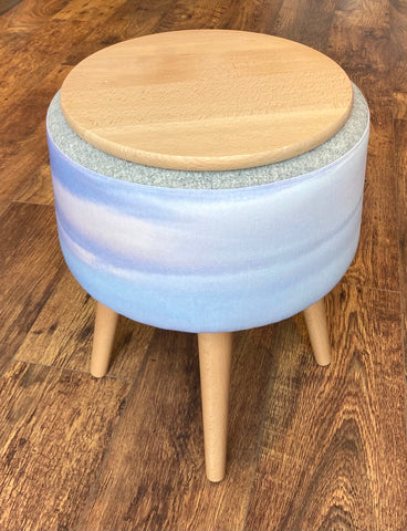 End Table: Skyscape and Grey Harris Tweed with Light Wooden Legs and Top