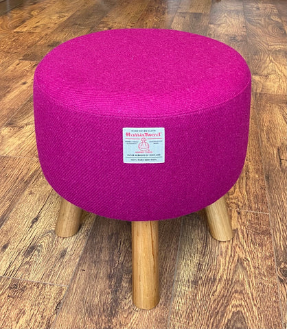Fuchsia Harris Tweed Upholstered Footstool with Rustic Wooden Legs
