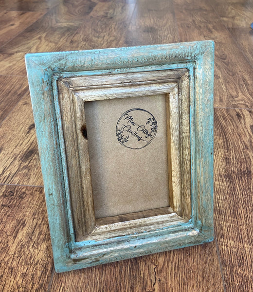 Rustic Wooden Photo Frame - Green