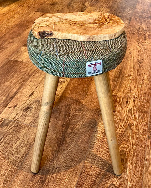 Small Table, Brown Harris Tweed with Rustic Wooden Legs and Olive Wood Top