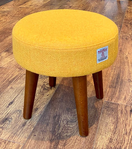 Yellow Harris Tweed Footstool with Dark Varnished Wooden Legs