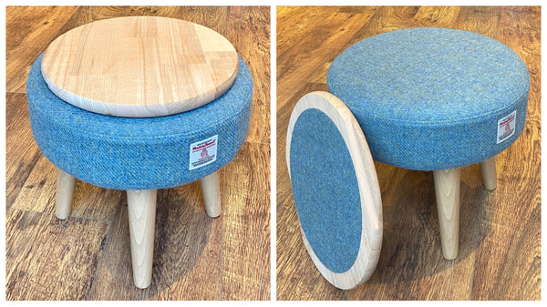 Light Blue Harris Tweed Footstool with Varnished Wooden Legs