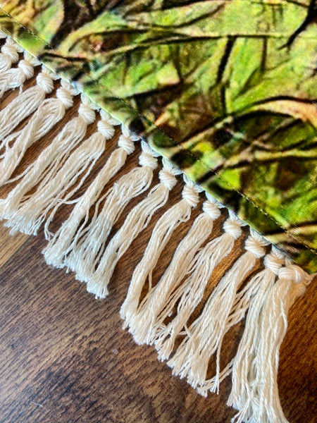 Highland Cow Textured Velvet Rug with Fringe Detail