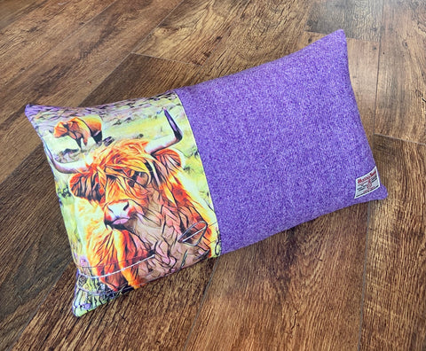 Handmade Highland Cow and Lilac Harris Tweed Cushion