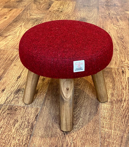 Mini Red Harris Tweed Footstool with Rustic Varnished Wooden Legs