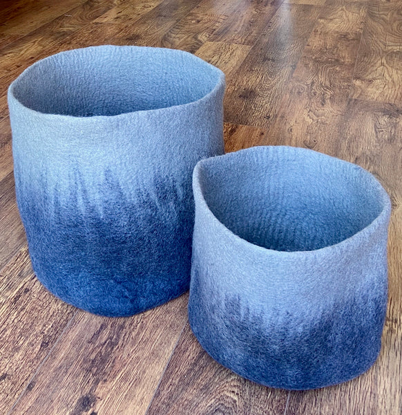 Blue Felted Wool Storage Baskets - Set of Two
