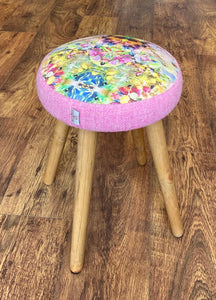 Floral Limited Edition Stool with Blush Pink Harris Tweed and Rustic Wooden Legs
