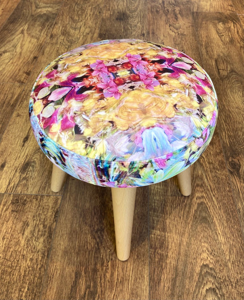 Soft Floral Velvet Small Footstool Varnished Wooden Legs