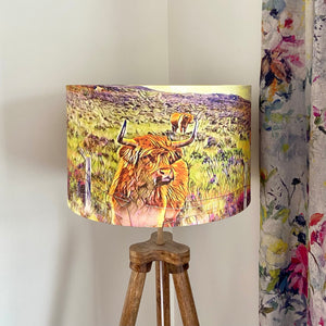 Highland Cow Scene Lampshade (40cm), Original Art by Mini Cottage Creations