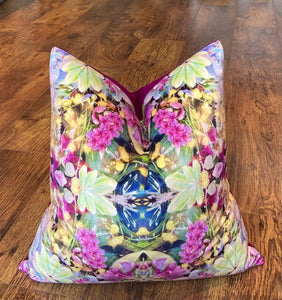 Soft Floral Velvet and Fuchsia Harris Tweed Cushion, Handmade, 18""