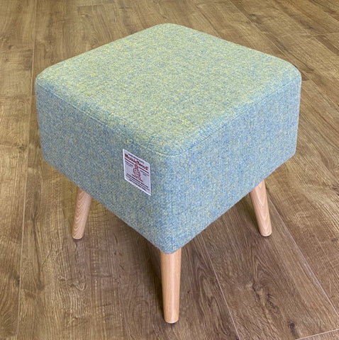 Light Green Square Footstool, Harris Tweed with Varnished Light Wooden Legs