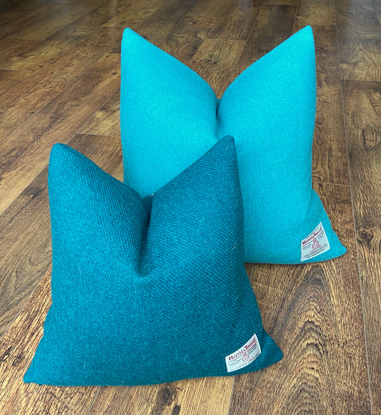 Large Turquoise Harris Tweed Handmade Cushion - 20""