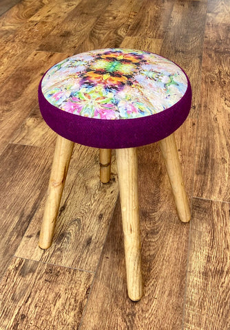 Floral Limited Edition Stool with Purple Harris Tweed and Rustic Wooden Legs