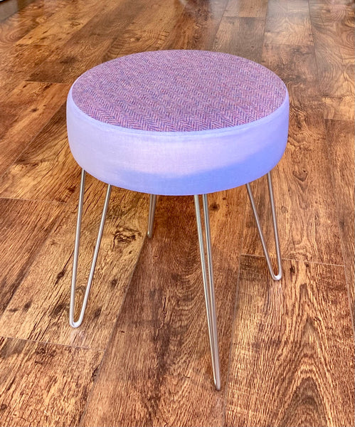 Lilac Skyscape and Harris Tweed Footstool with Silver Hairpin Legs