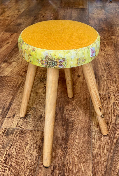 Yellow Harris Tweed Stool with Abstract Design and Rustic Wooden Legs