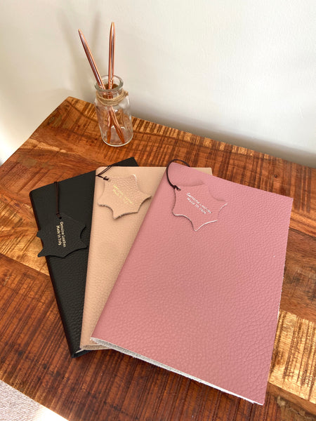 Italian Leather Notebook - Taupe