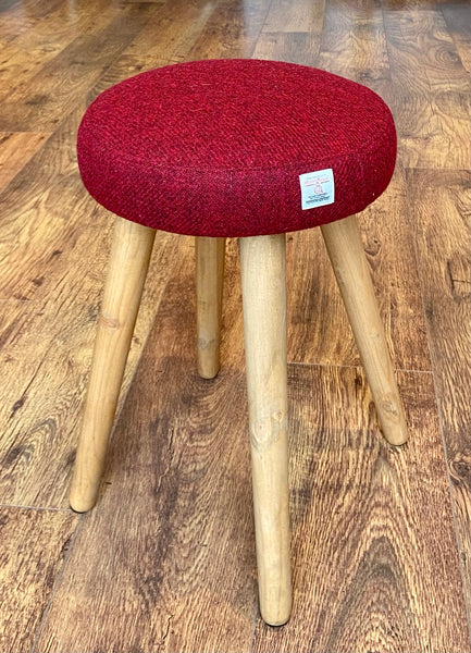 Red Harris Tweed Upholstered Stool with Rustic Wooden Legs