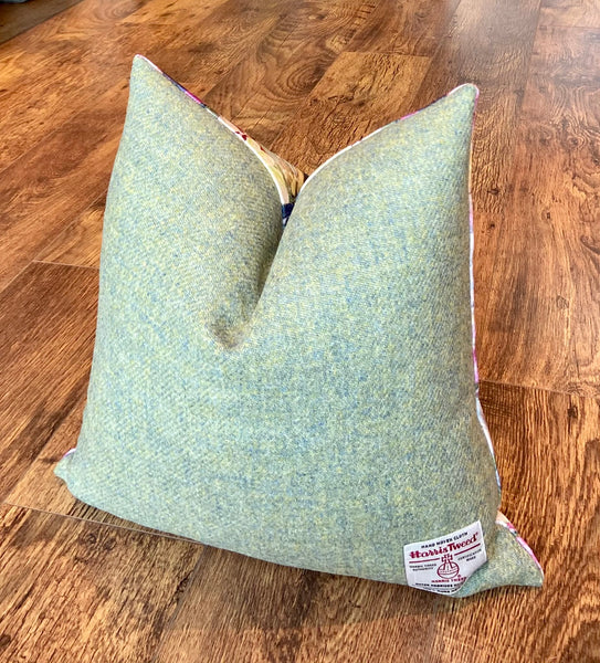 Soft Floral Velvet and Green Harris Tweed Cushion, Handmade, 18""