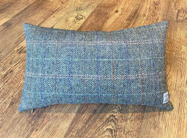 "Harris Tweed Overcheck Tartan Cushion 20""x12"", Handmade, Duck Feather Insert."