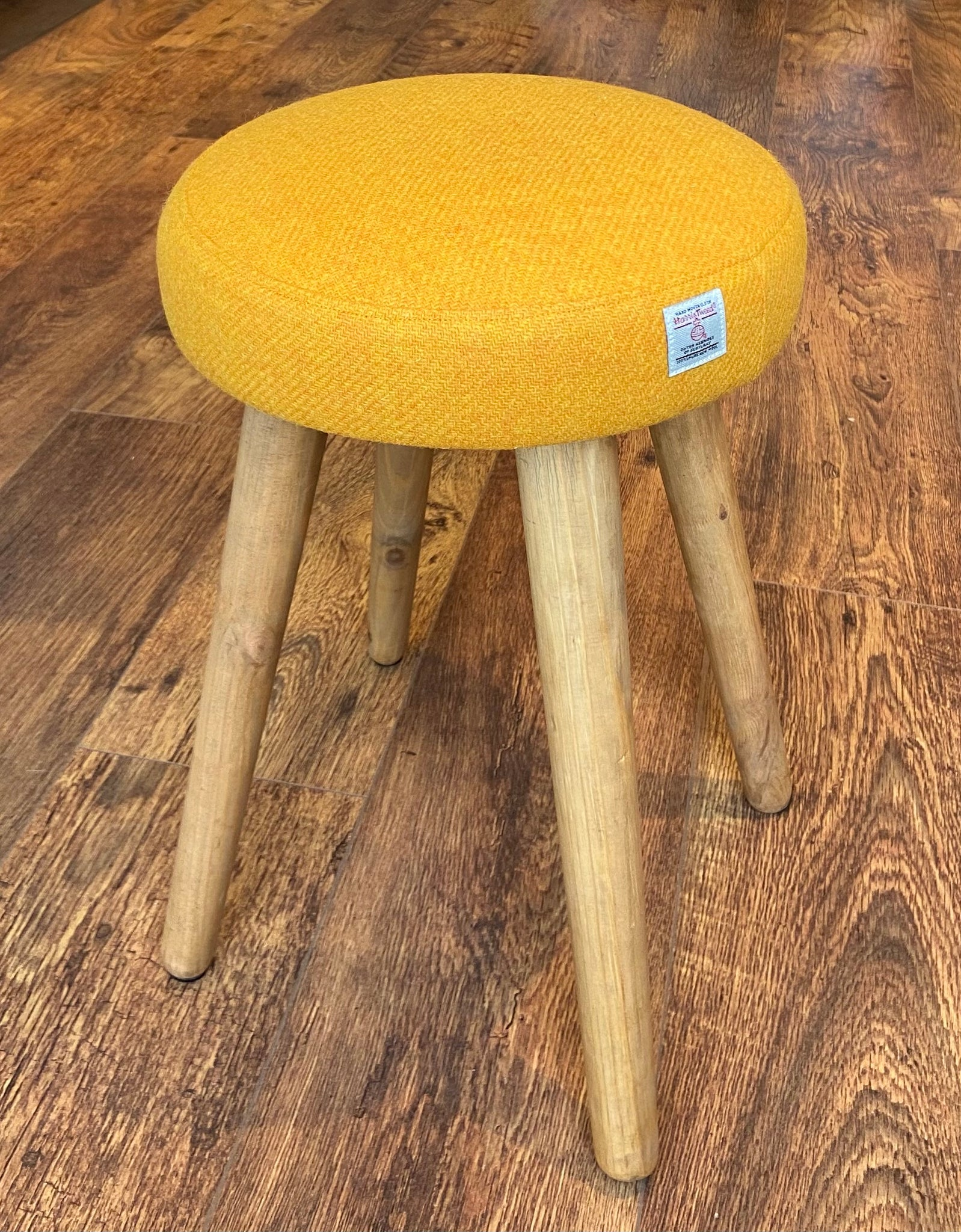 Yellow Harris Tweed Dressing Table Stool with Rustic Wooden Legs