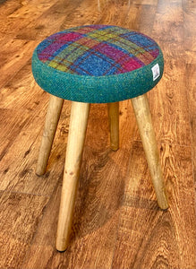 Dressing Table Stool: Green and Tartan Harris Tweed with Rustic Wooden Legs