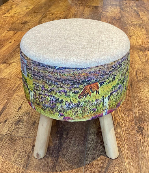 Highland Cow and Oatmeal Harris Tweed Footstool with Rustic Wooden Legs