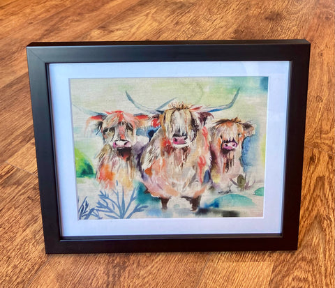 Framed Highland Cow Wall Art - Landscape