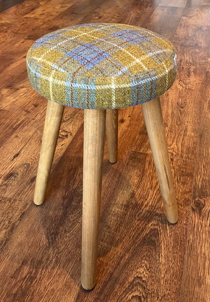 Dressing Table Stool: Mustard Tartan Harris Tweed with Rustic Wooden Legs
