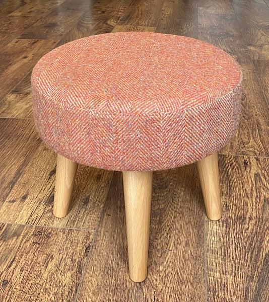 Burnt Orange Harris Tweed Footstool with Varnished Wooden Legs