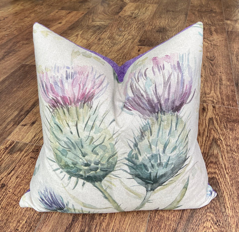 Watercolour Thistle and Lilac Harris Tweed Cushion, Handmade, 16""