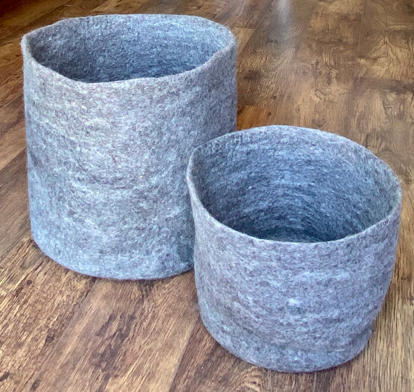 Grey Felted Wool Storage Baskets - Set of Two