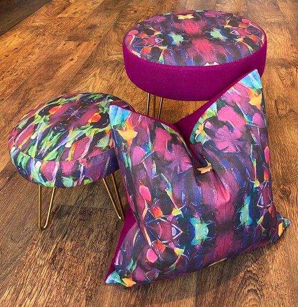 Vibrant Abstract Print and Harris Tweed Hairpin Footstool with Gold Legs