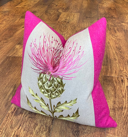 Vibrant Pink Embroidered Thistle and Harris Tweed Cushion 18""
