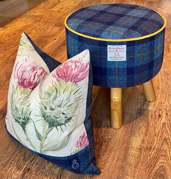 Limited Edition Orb Harris Tweed Cushion with Watercolour Thistle