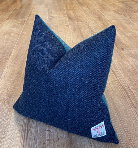 Navy and Green Two Tone Harris Tweed Cushion - Handmade, 18""