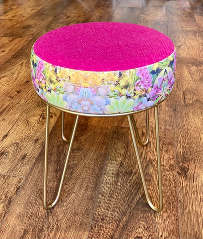 Floral Hairpin Footstool with Bright Pink Harris Tweed