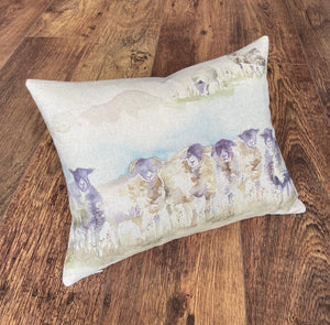 Sheep Scene & Harris Tweed Cushion, 16x12""