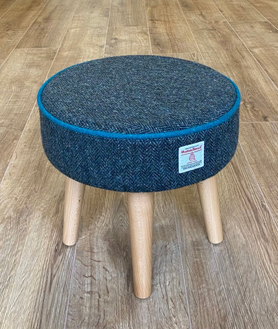 Charcoal Harris Tweed Footstool with Teal Piping and Varnished Wooden Legs