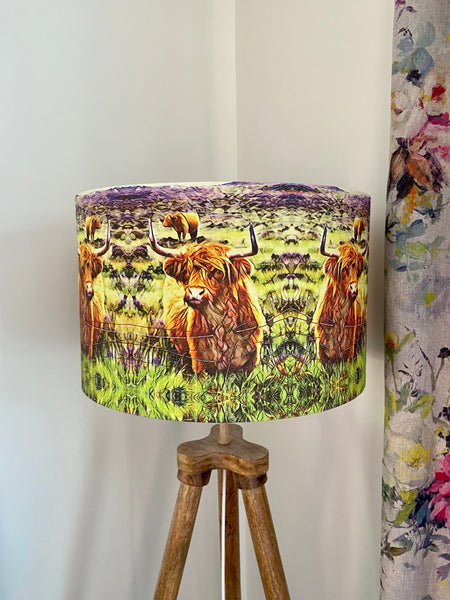 Organic Cotton Highland Cow Lampshade (40cm), Art by Mini Cottage Creations