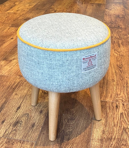 Grey Harris Tweed Footstool with Yellow Piping and Varnished Wooden Legs