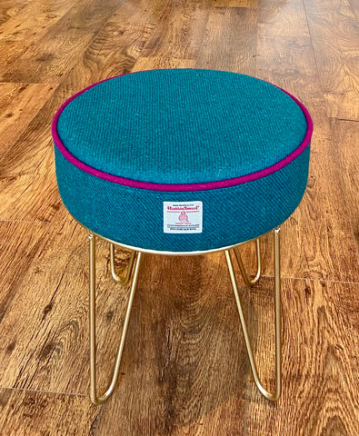 Teal Harris Tweed Hairpin Footstool with Fuchsia Piping