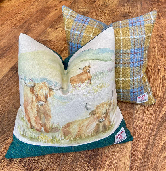 Highland Cow and Green Harris Tweed Cushion, Handmade, 16""