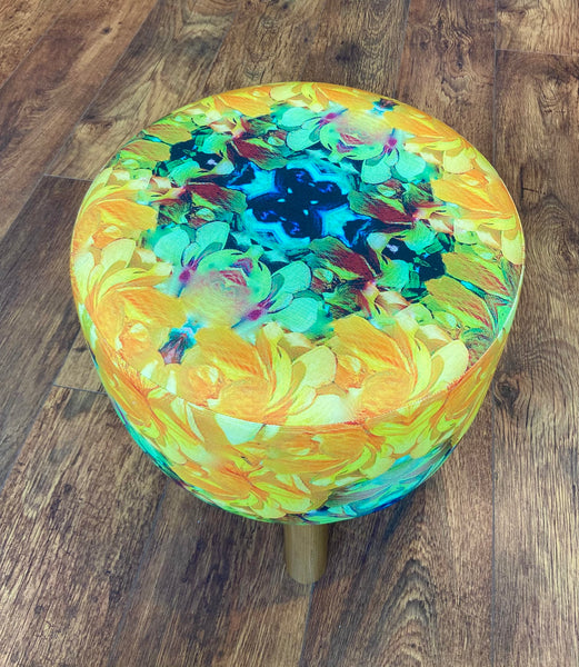 Vibrant Yellow Floral Footstool - Mini Cottage Creations Fabric